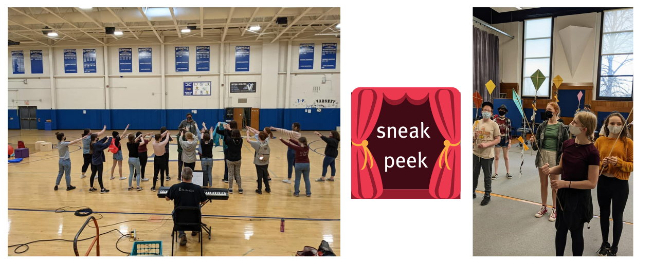 students rehearsing in the gym