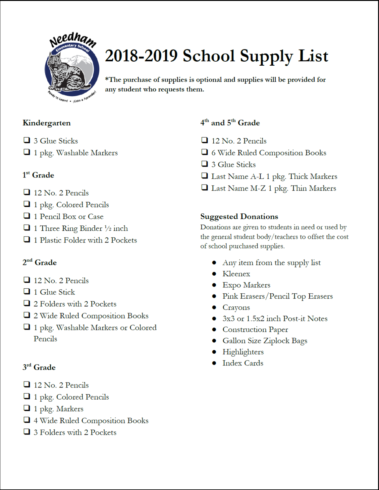 Needham School Supply List for 2018-2019