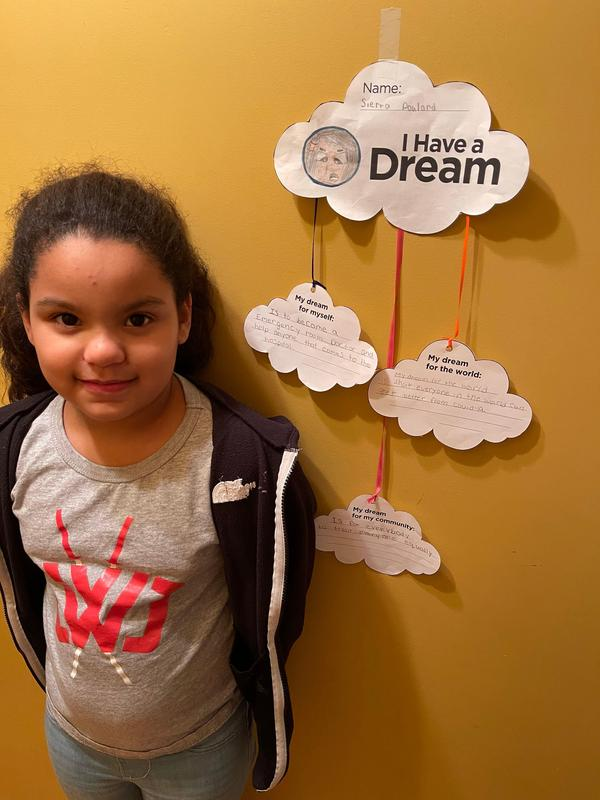 Sierra with her I Have a Dream Activity