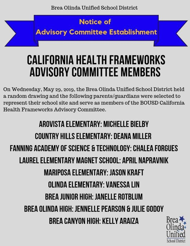 CA Health Frameworks Committee Members