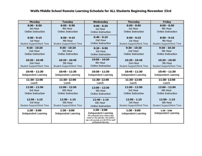 Daily Schedule for Student Remote Learning