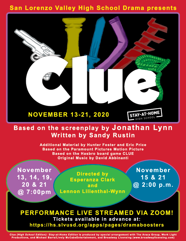Clue production flyer November 13-15 & November 20-22