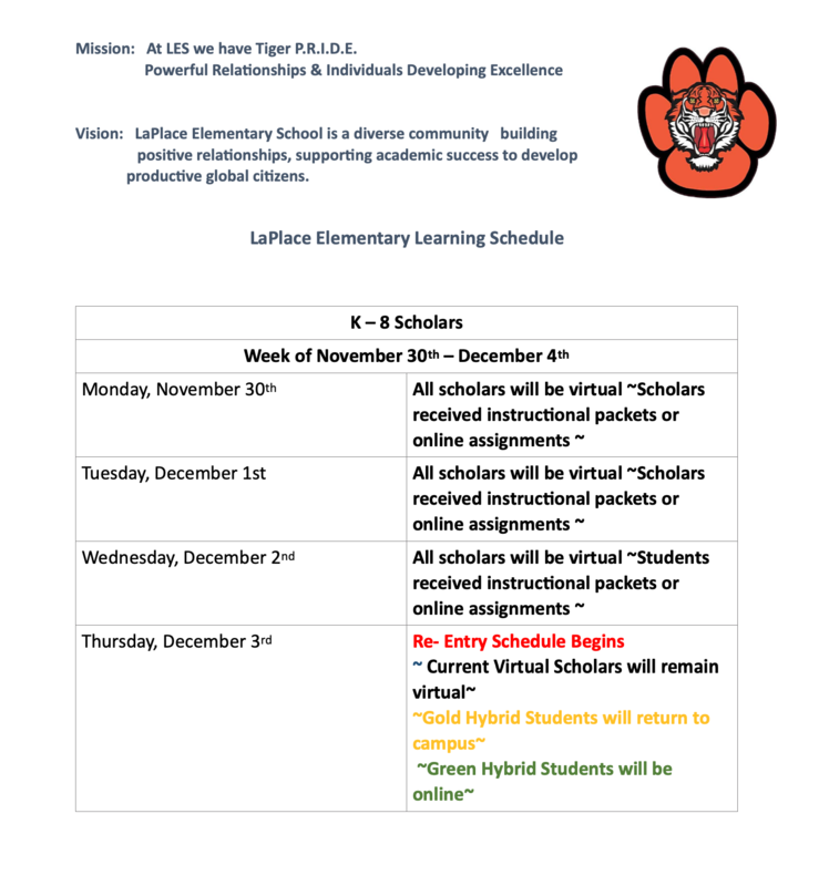 LES Student Learning Schedule Thumbnail Image