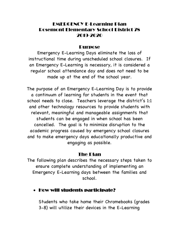 Emergency E-Learning Plan