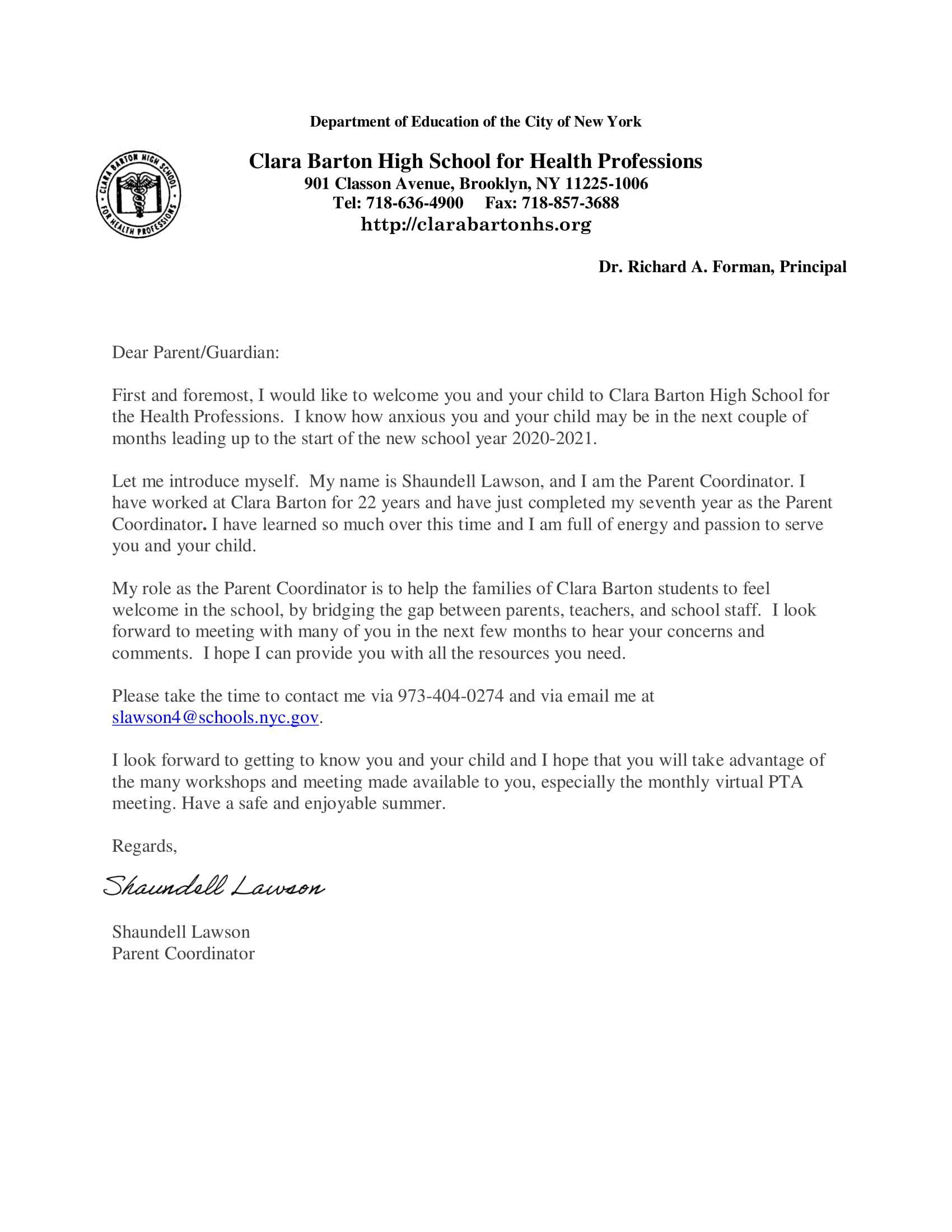 Welcome letter from Ms. Lawson, Parent Coordinator