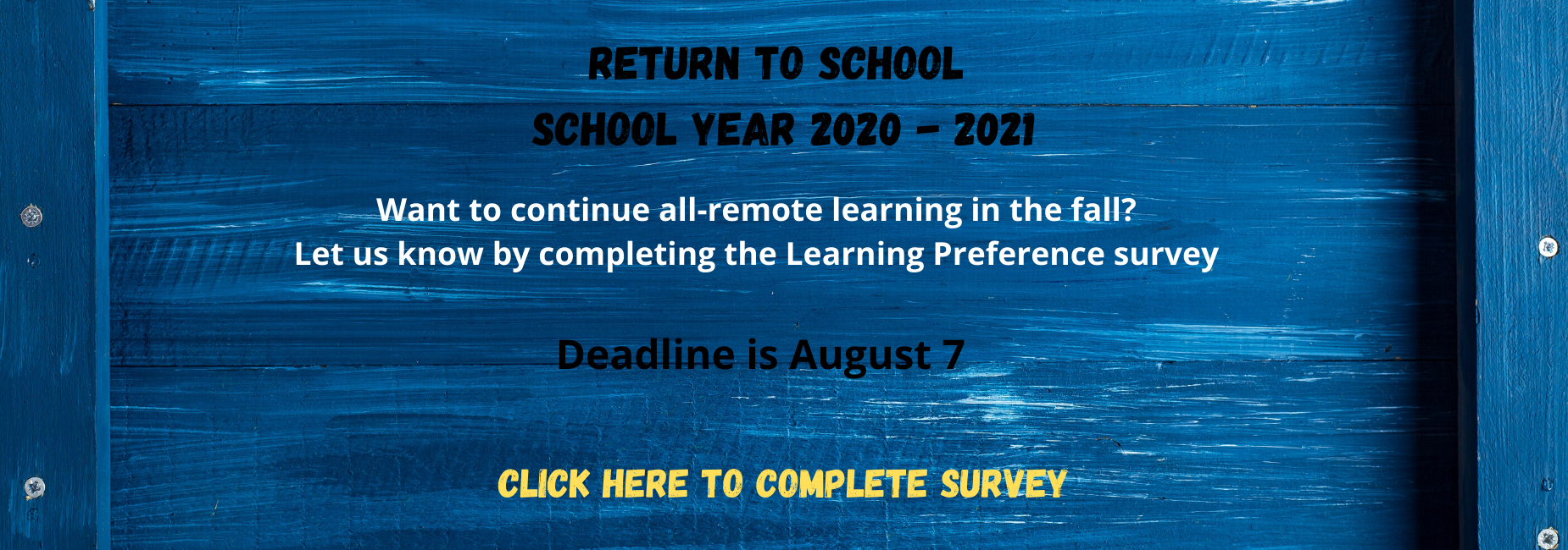 Return to School Survey Message and Link - English