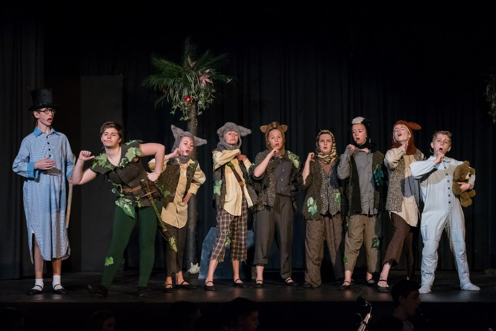 Students performing in Peter Pan the musical
