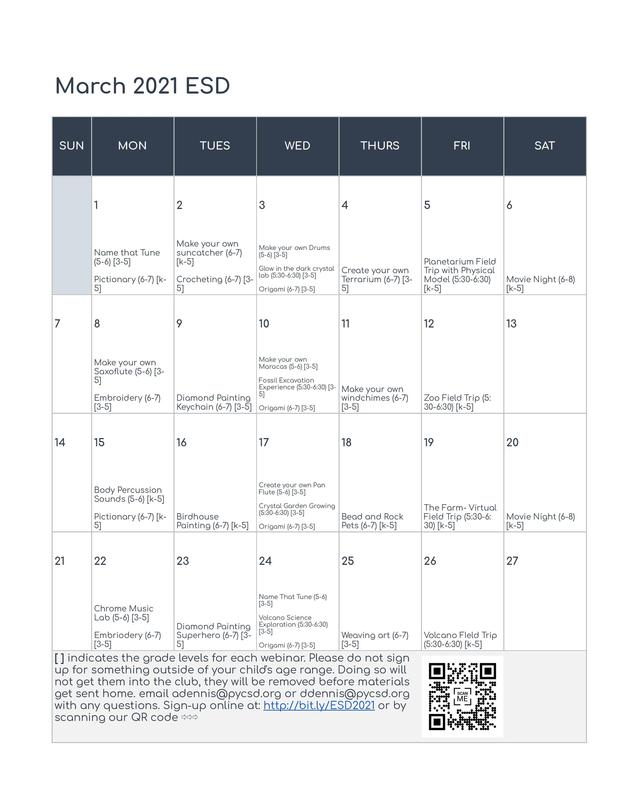 March ESD Calendar and Signup Featured Photo
