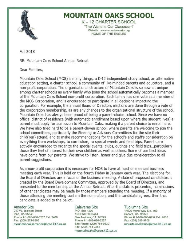 Annual Retreat Letter