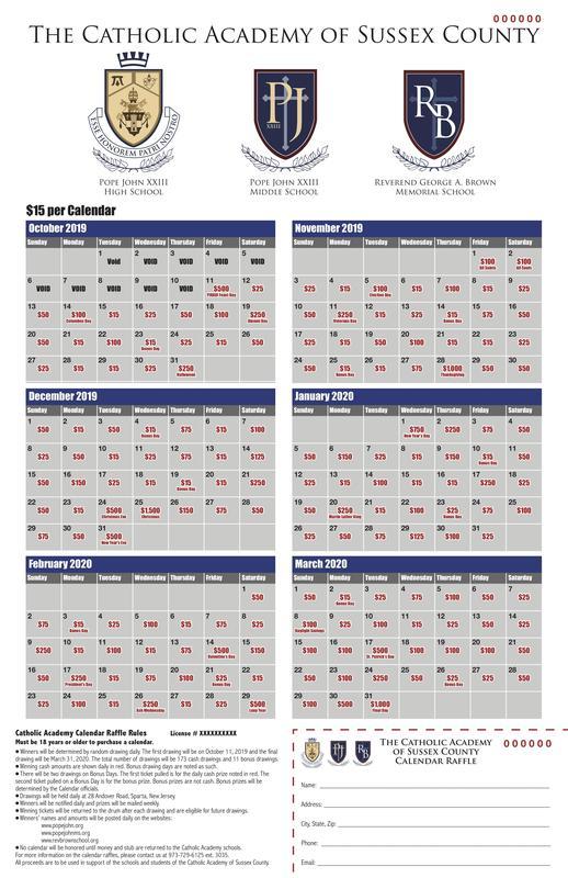 Calendar Raffle sample
