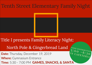 Literacy Night will take place on Thursday December nineteenth from five thirty to seven p m in the gym.