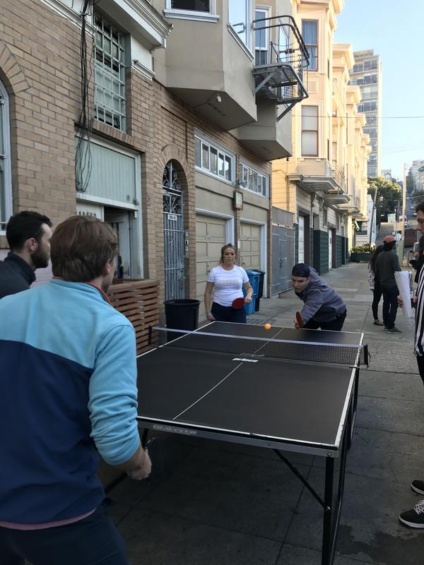 ping pong game outside of LaRocca's corner