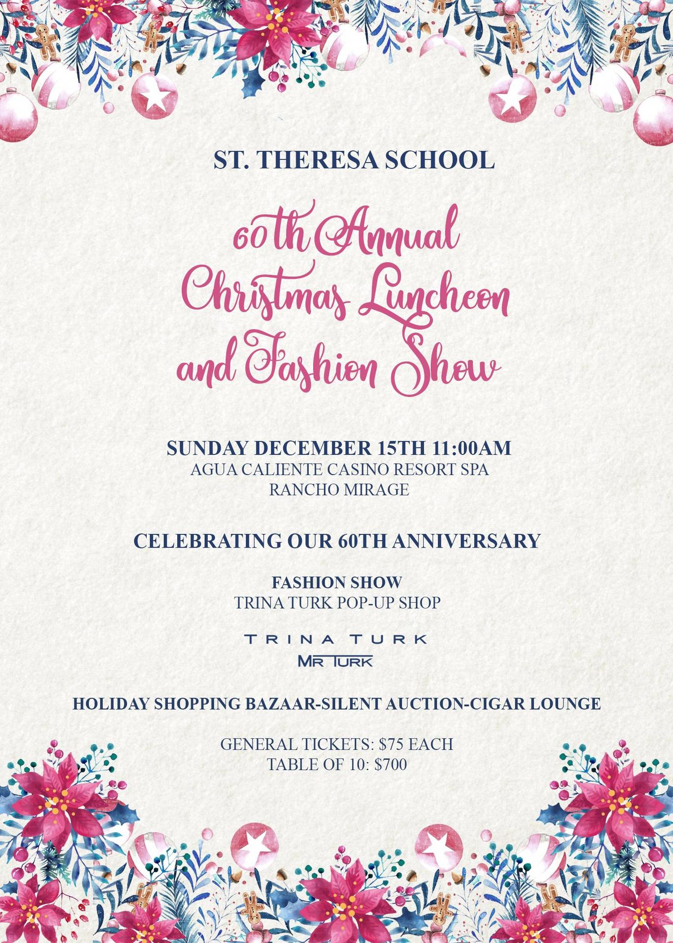 Buy Tickets Now! 60th Annual Christmas Luncheon and Fashion Show Sunday December 15th 11:00AM