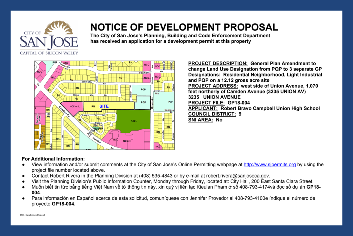 Image of City of San Jose Notice of Development Proposal sign posted at Camden & Union Avenues