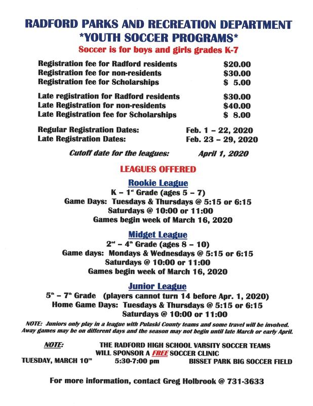 Youth Soccer Programs offered through the Radford Rec Department