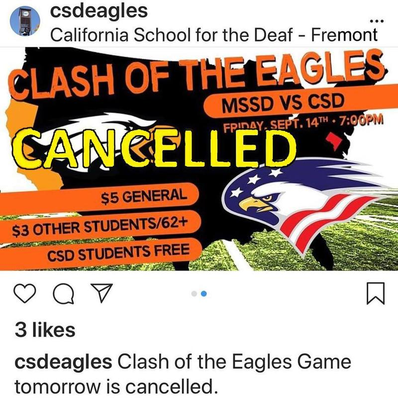 This Friday football game at CSD is canceled.