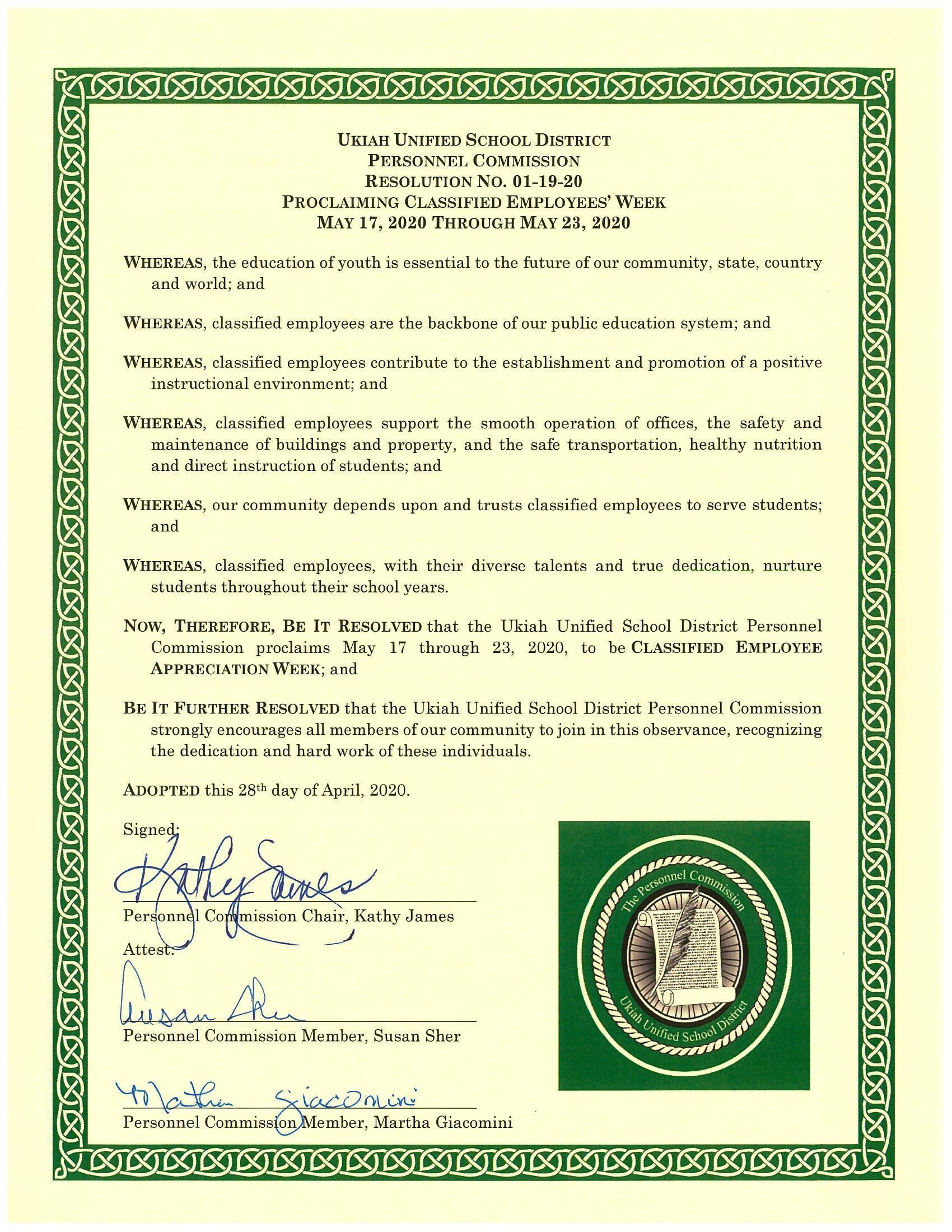 Classified Employee Appreciation Week Proclamation