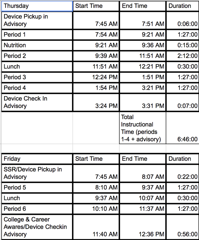 Special Bell Schedule for 10/18 - 10/19 Thumbnail Image