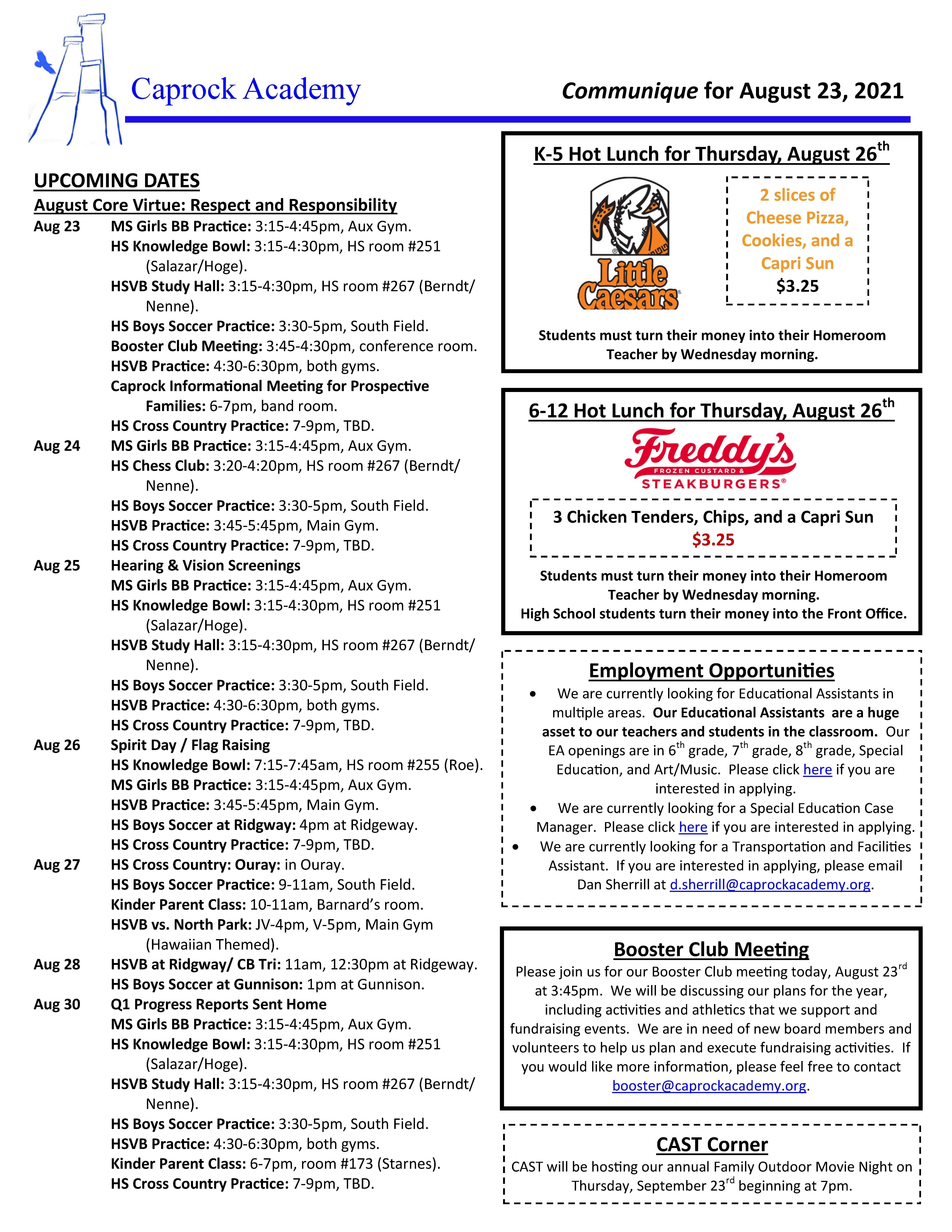 Caprock Communique 8-23-21 page 1 of 2