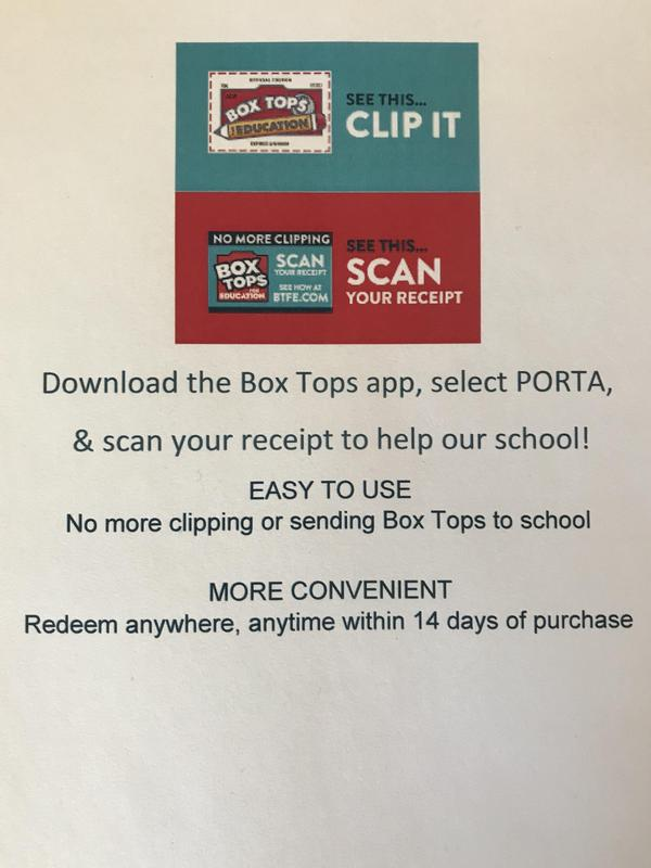 Box Top App Information for PORTA Schools
