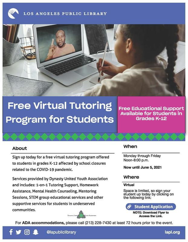 Free Virtual Tutoring Program for Students Featured Photo