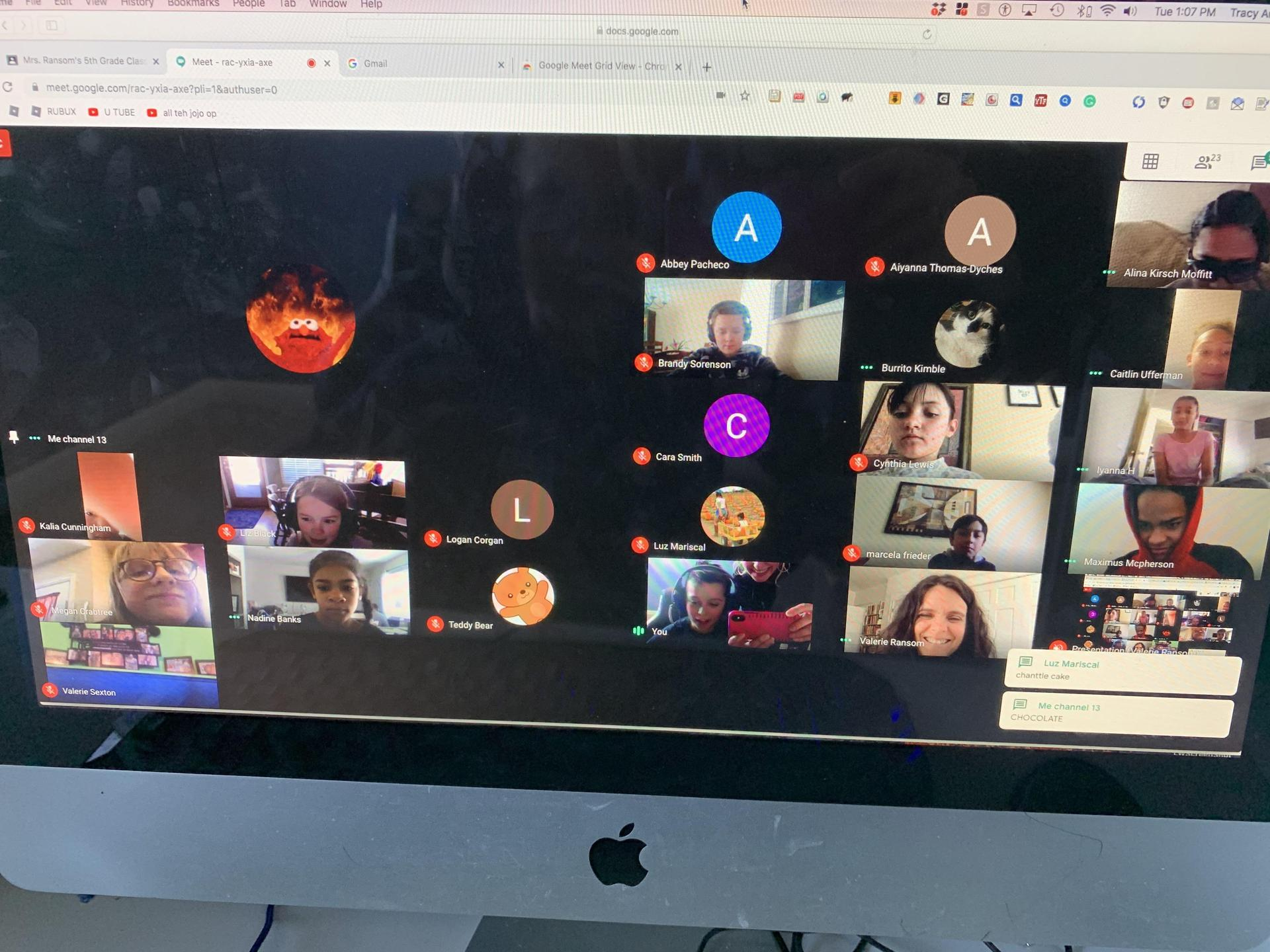 Students on a class call