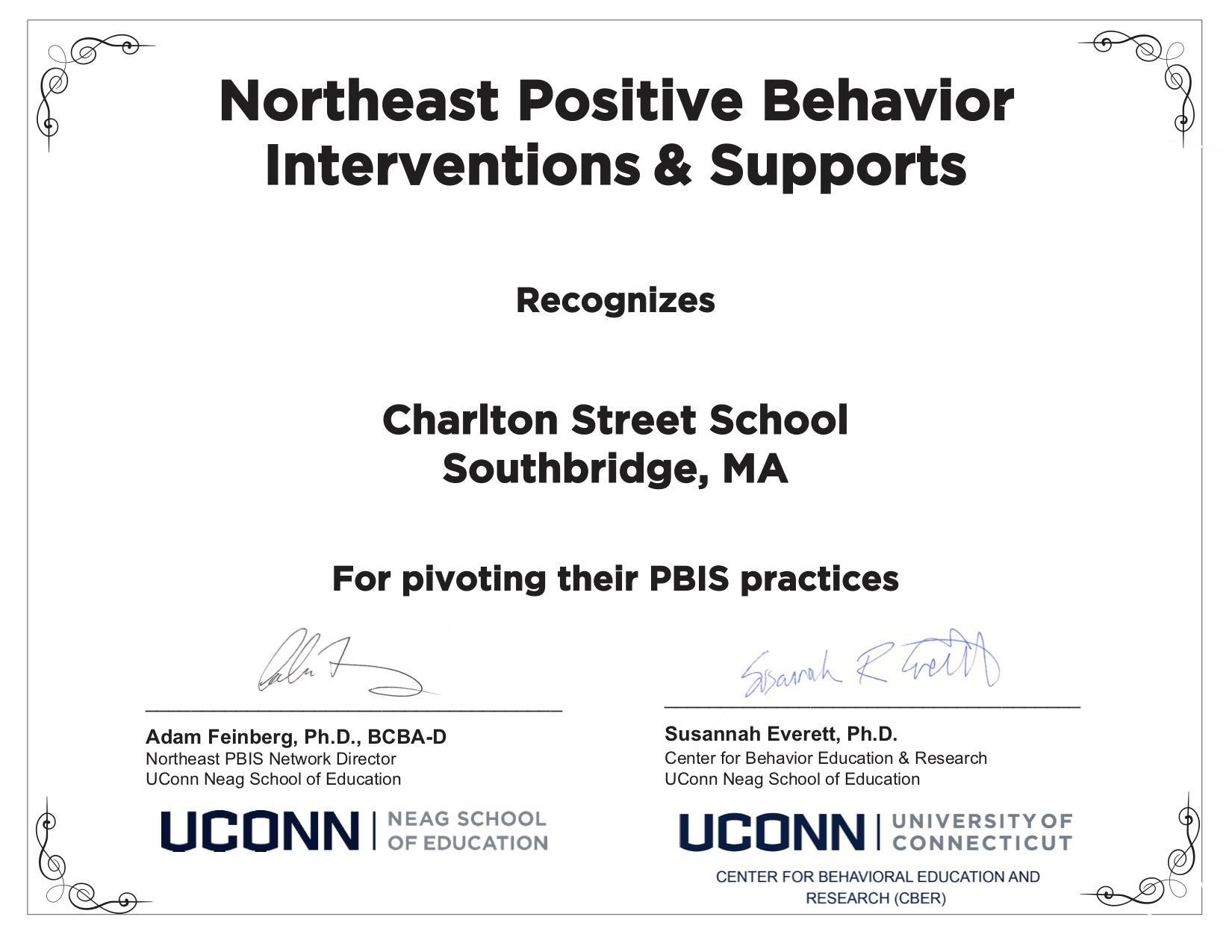 Certificate of award given to Charlton Street School for achievement in PBIS