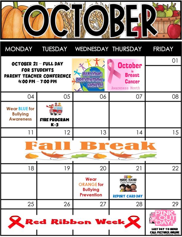 OCTOBER 2021 School Calendar Thumbnail Image