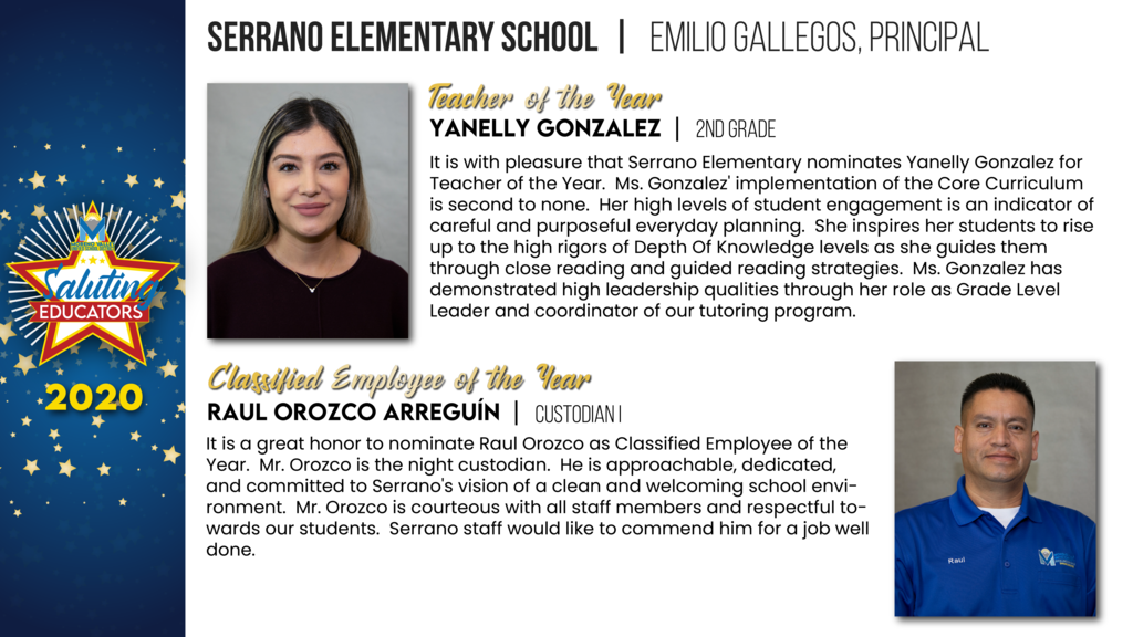 Serrano Elementary Employees of the Year