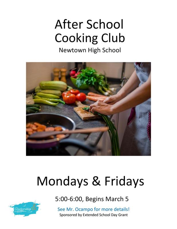 After School Cooking Club, Mon & Fri, 5-6 PM. Begins March 5. See Mr. Ocampo for details.
