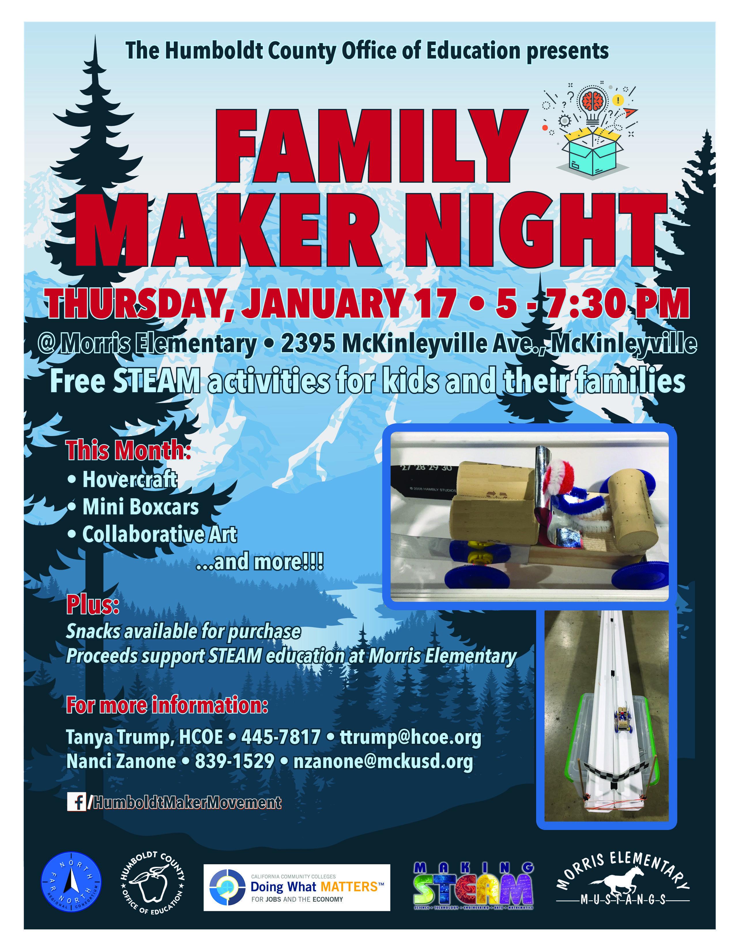 Information Regarding Family Maker Night on January 17th from 5:00-7:30 at Morris.