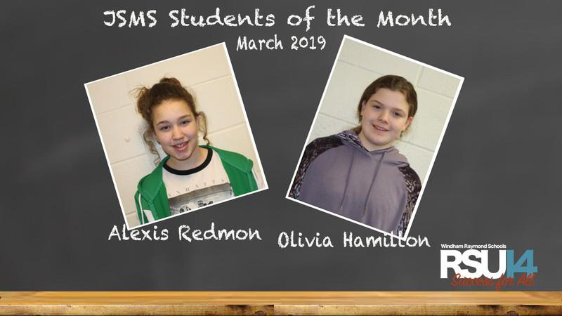 JSMS Students of the Month for March 2019