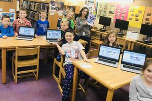 """Third graders at Jefferson School participated in """"Hour of Code"""" activities during Computer Science Education Week with the help of code.org volunteer and Westfield resident Charlie Schafer"""