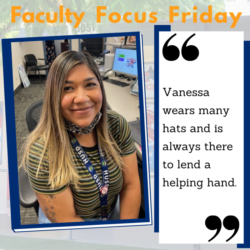 A picture of Vanessa Herrera sitting at her desk surrounded by the Faculty Focus Friday boarder.