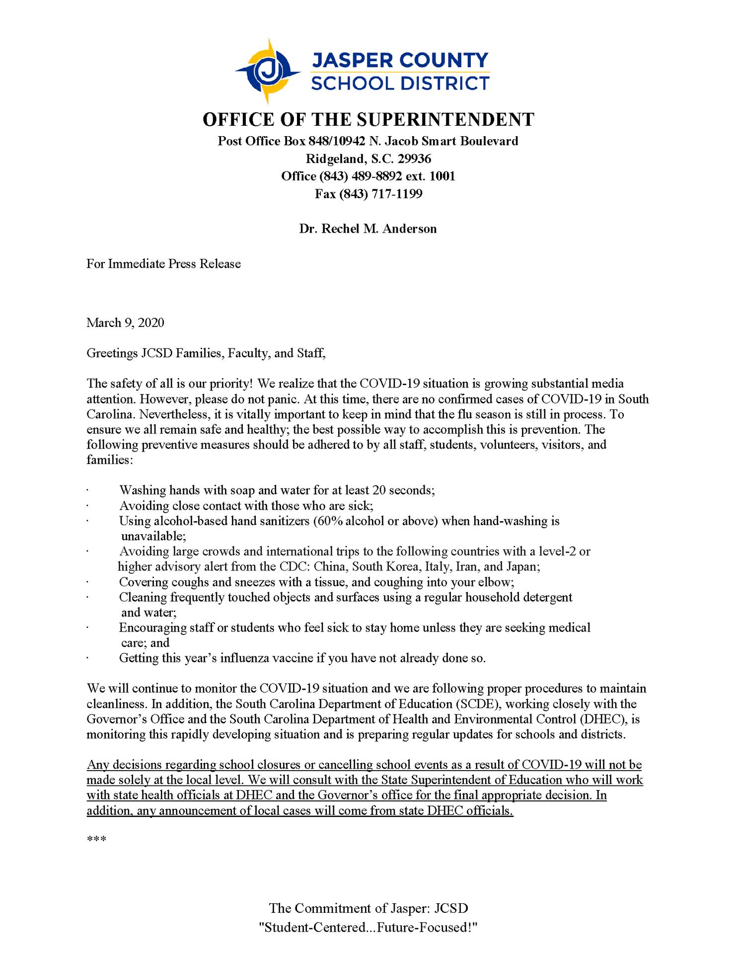 COVID 19 press release