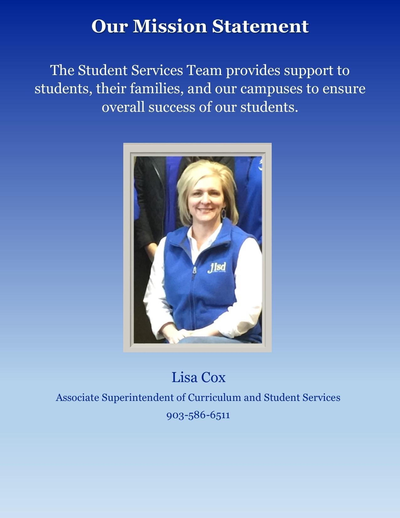lisa cox, student services department