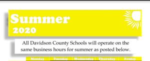 Screenshot of Pilot/Davidson County Schools summer schedule.