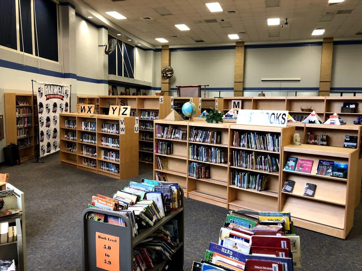 Harwell Middle School Library Shelves