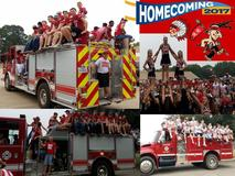 Homecoming parade - football players and cheerleaders on fire truck during parade