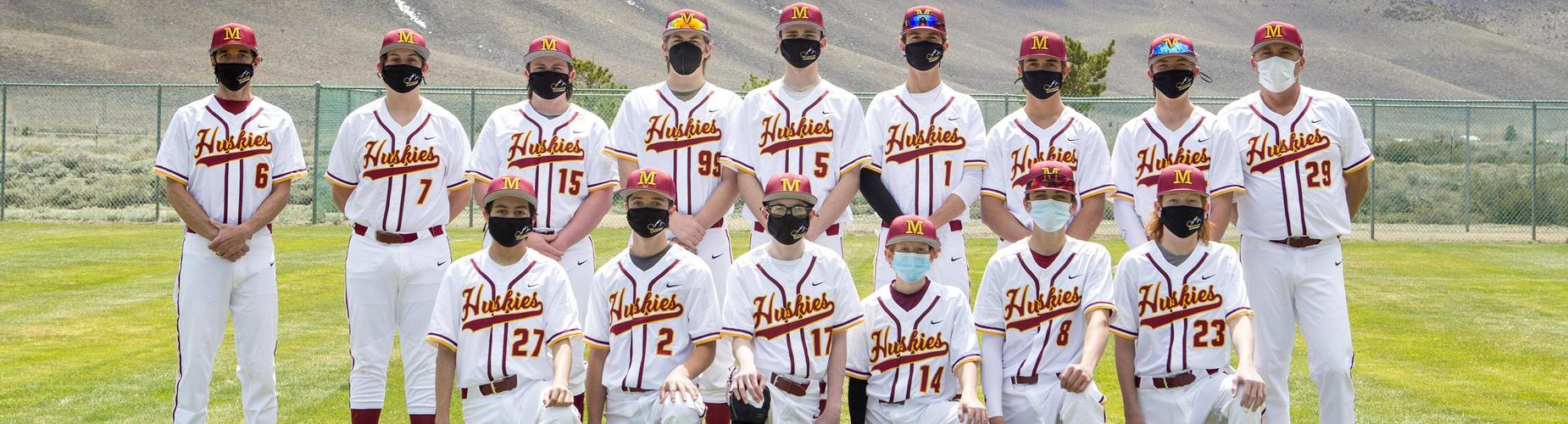 Mammoth High School 2021 baseball team picture. Back row standing front row kneeling, all wearing masks