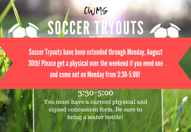 CWMS Soccer Tryouts Extended