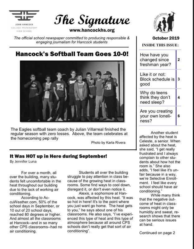 October issue of the school paper