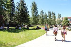 Image of students on campus during the summer.