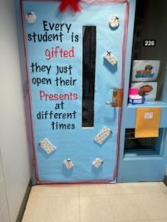 A decorated door at the school