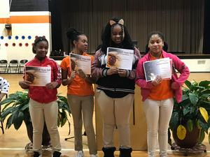 Children receiving awards.