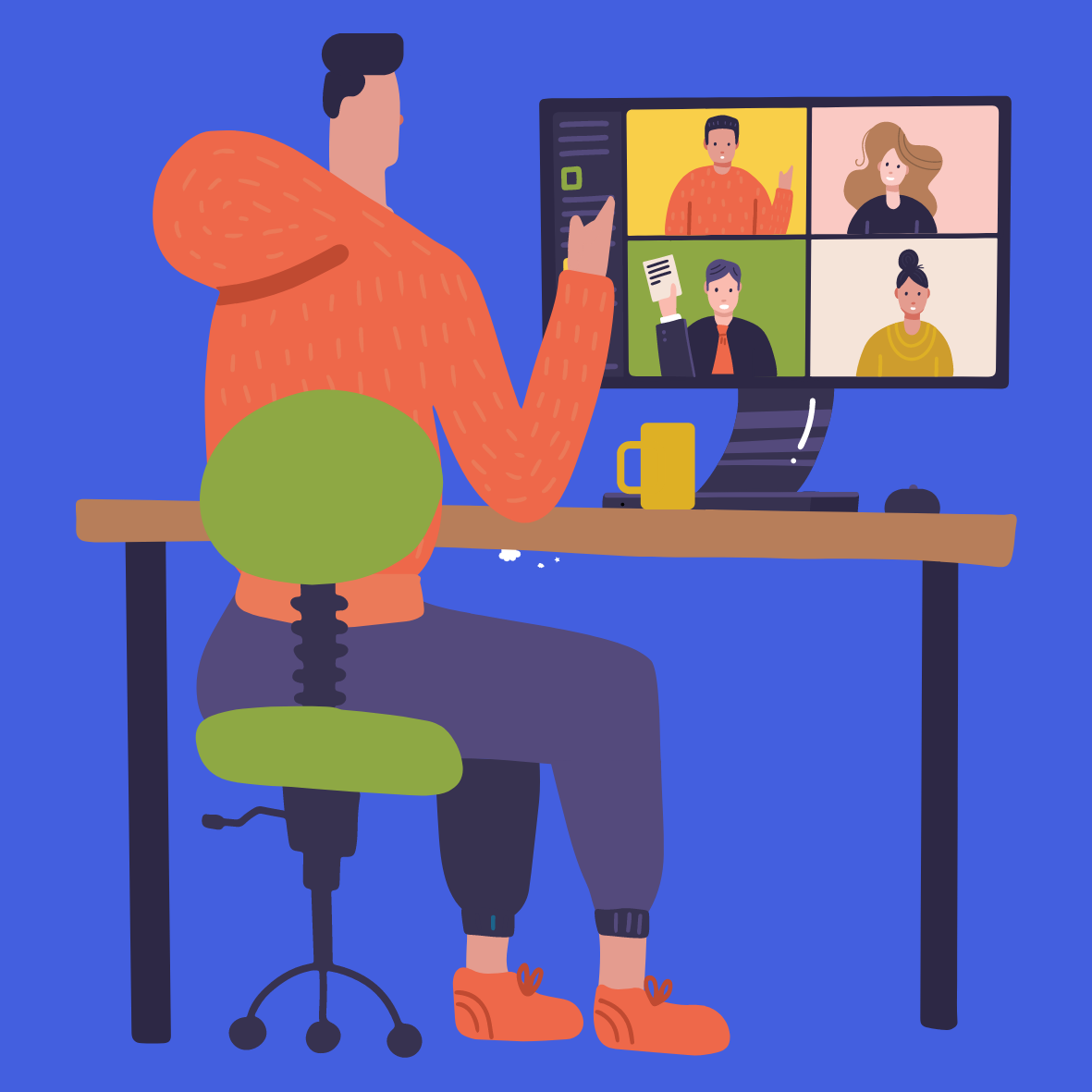 graphic of man sitting at a computer