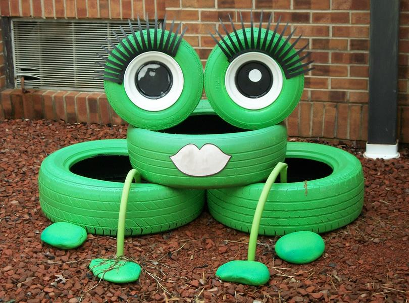 Frog tire decoration in front of our school.