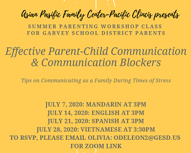 Asian Pacific Family Center - Summer Parenting Workshop Thumbnail Image