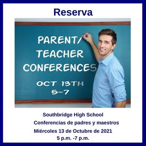 Graphic about parent teacher conferences in Spanish