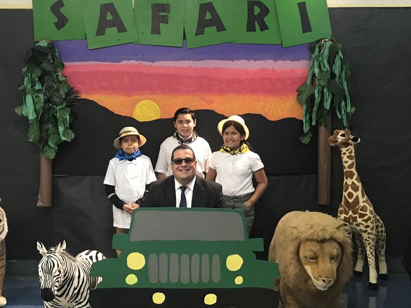 LeGore students guide El Monte City Mayor Andre Quintero through the school during their 2019-20 Leadership Day, a showcase event for their Leader in Me program. The school has been named a Leader in Me Lighthouse School.